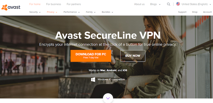 Avast VPN website