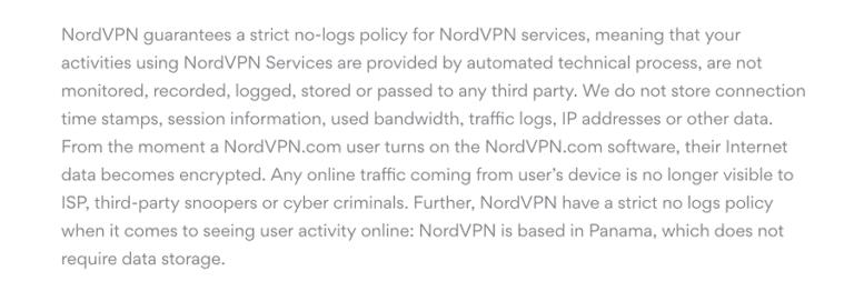 Guaranteed NordVPN's no-logging policy