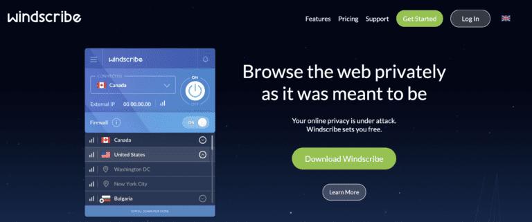 Windscribe VPN website