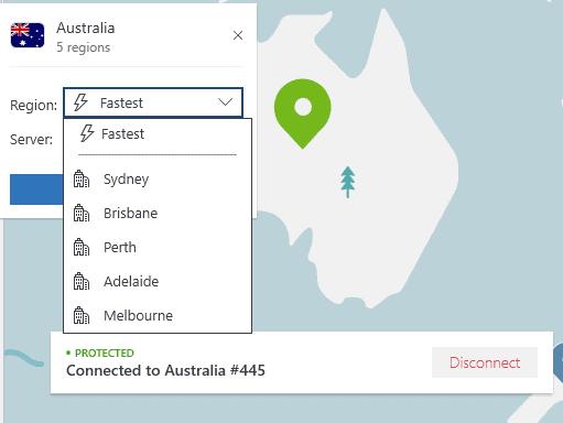 Connected to NordVPN's server in Australia