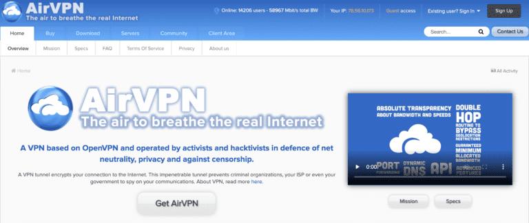 AirVPN website