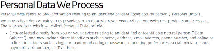 What personal data does AVG Secure process
