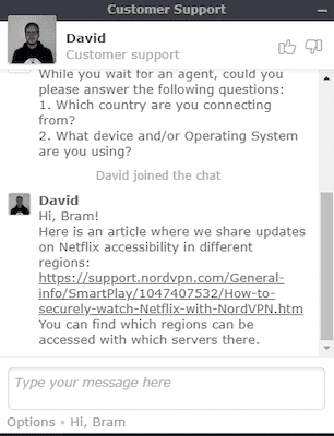 NordVPN live chat with David
