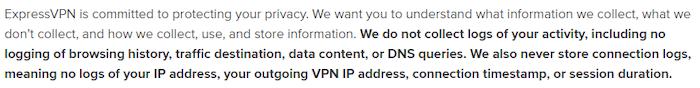 ExpressVPN's privacy policy