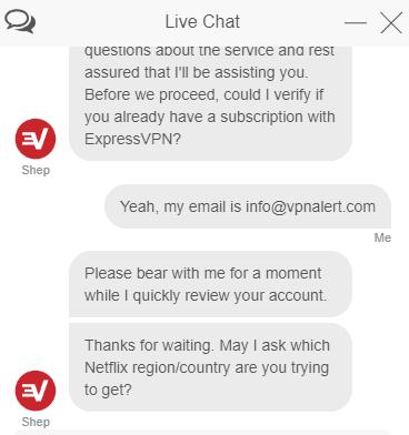 ExpressVPN live chat