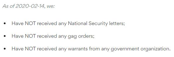 NordVPN's warrant canary