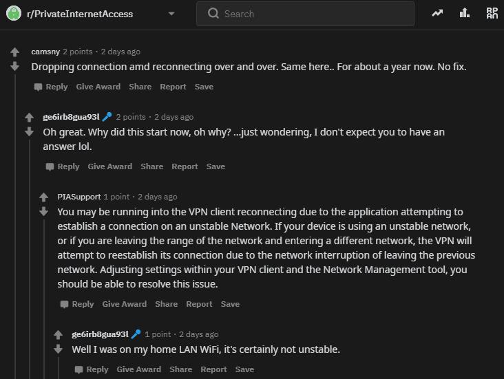 PIA VPN on Reddit