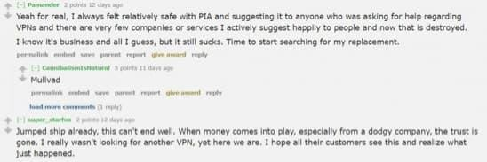 Reddit user writing about PIA